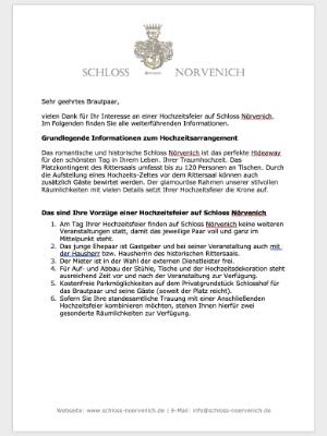 Informationen Hochzeit Schloss Nörvenich
